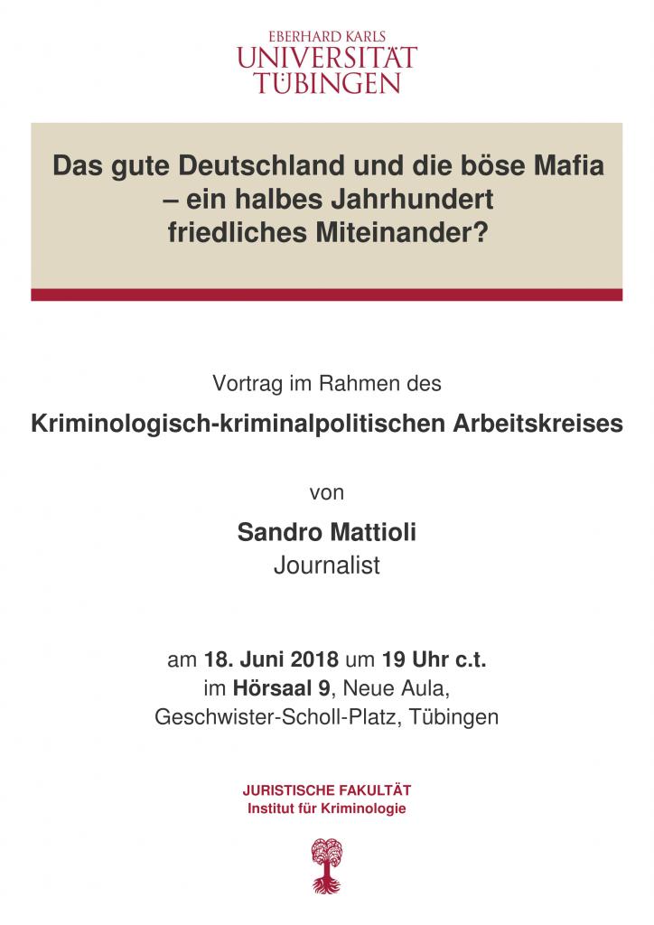 18.6.2018 Vortrag an der Uni Tübingen